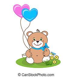 herz luftballone b r teddy herz illustration teddy farbe b r luftballone. Black Bedroom Furniture Sets. Home Design Ideas