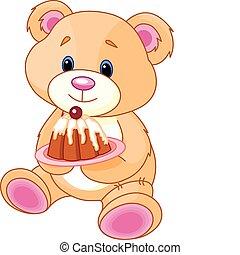 teddybär, mit, kuchen