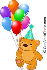 teddybär, mit, luftballone