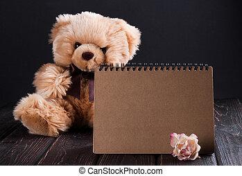 teddybär, und, rosen