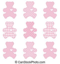 teddybären, kattun, und, polka- punkte