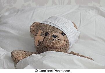 teddybear, ベッド