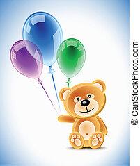 Teddybear and balloons - Teddybear holding transparent...