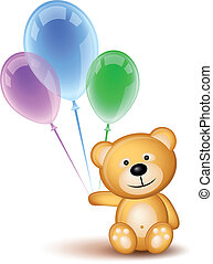 Teddybear and colored balloons - Teddybear holding colored...