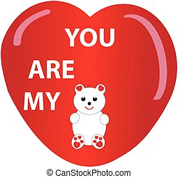 Teddybear and heart on white background