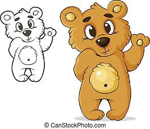 teddybear - vector color bear waving paw