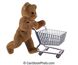 Teddys shopping cart - Isolated illustration of teddy ...
