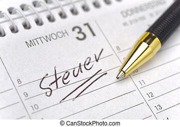 tedesco, calendario, tassa, giorno, marcato