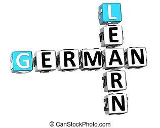 tedesco, cruciverba, 3d, imparare