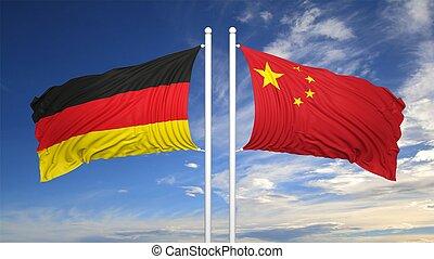 tedesco, e, cinese, bandiere