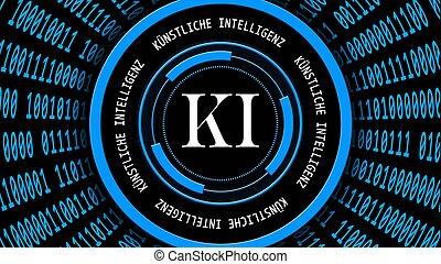 tedesco, ia, -, blu, bianco, intorno, fondo, binario, iscrizione, intelligenza, elementi, intelligenz), hud, forma, astratto, ki, kuenstliche, organizzato, codice, cilindro, artificiale, (in