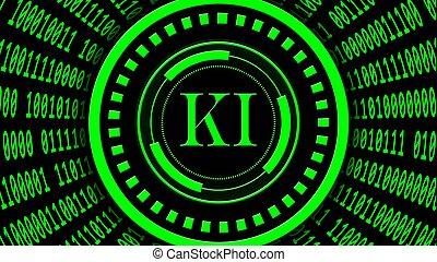 tedesco, ia, -, fondo, binario, intelligenza, lettere, elementi, intelligenz), hud, forma, astratto, ki, kuenstliche, organizzato, verde, codice, centro, cilindro, artificiale, (in