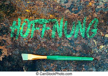 tedesco, parola, colorare, verde, spazzola, simbolismo