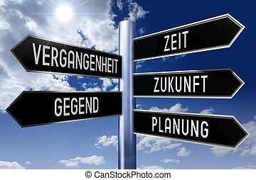 tedesco, signpost, concetto, -, tempo
