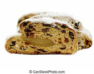 tedesco, -, tradizionale, christstollen, natale, bread