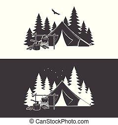 tee., 夏, 概念, illustration., 切手, キャンプ, 日, 印刷, ベクトル, night., ∥あるいは∥, ロゴ, ワイシャツ