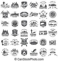 tee., badges., 概念, ワイシャツ, 切手, ∥あるいは∥, セット, 冒険, 印刷, ロゴ, 極点