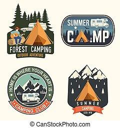 tee., badges., jogo, camisa, acampamento verão, selo, remendo, ou, conceito, vector., impressão, logotipo