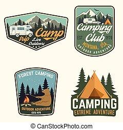 tee., badges., jogo, camisa, acampamento verão, selo,...