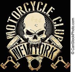 tee, biker, vendimia, emblema, cráneo, gráfico