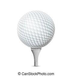 tee, bola, golfe, isolado, Ilustração, realístico, vetorial, branca
