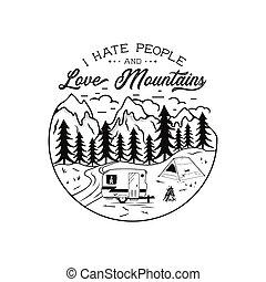 tee., conceito, amor, pessoas, aventureiro, ódio, qualquer, perfeitos, engraçado, amantes, acampamento, vindima, vector., desenhado, estoque, montanhas, wanderlust, quote., mão, aventura, t-shirt., acampamento, hikers., emblem., ou