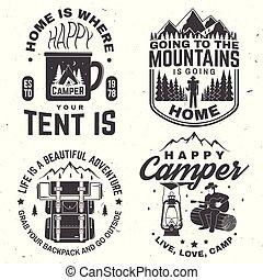 tee., conceito, jogo, camisa, selo, campista, símbolo., ou, aventura ao ar livre, vector., impressão, logotipo, feliz