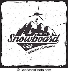tee., concepto, illustration., estampilla, o, club., snowboard, vector, impresión, logotipo, camisa