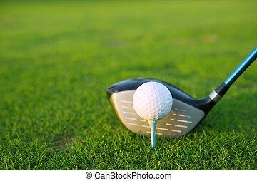 tee del golf, pelota, club, conductor, en, hierba verde,...
