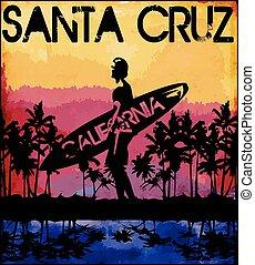 tee, desenho, califórnia, verão, gráfico, flórida