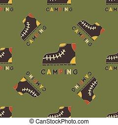 tee, embalagem, desenho, vestuário, style., incomum, prints., acampamento, padrão, viagem, -, seamless, outro, agradável, entusiastas, boots., aventura, fundo, caricatura, afligido, acampamento, vetorial, ao ar livre, estoque