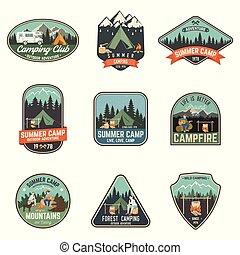 tee., estate, concetto, illustration., camp., francobollo, o...