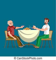 tee, famiglia, persone, figlio, insieme, padre, cenando, trattare, casa, dad felice, mangiare, seduta, cibo, illustrazione, presa, mangiare, uomo, berretto, sanior, nonno, cena, vettore, tavola