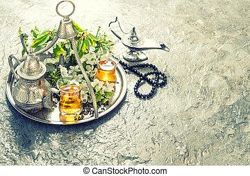 tee, gedeckter tisch , mit, arabisch, laterne, und, rosary., islamisch, feiertage, dekoration