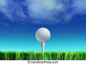 tee, golfspel-bal