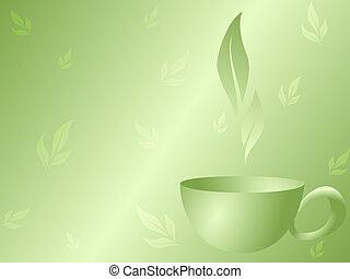tee, grüner hintergrund