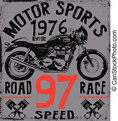 Tee Graphic Motorcycle label t shirt design with...