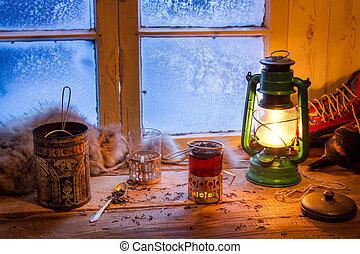 tee, heiß, kalte , winter, tag