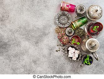 tee, mit, minze, leaves., feiertage, tisch., ramadan, kareem