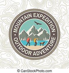 tee., montanha, conceito, camisa, tipografia, expedição, selo, vindima, ou, emblema, silhouette., mountaineers, desenho, aventura, patch., ao ar livre, emblem., impressão, vector.