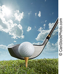 close up on the action of teeing off