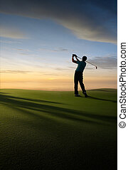 tee off - golfer at golf course, illustration like