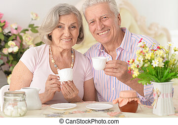 tee, paar, trinken, älteres porträt