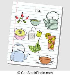 tee, papier, -, doodles, liniert
