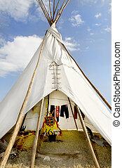 Tee Pee Against a Blue Sky - A native american indian tee...