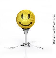 tee., pelota, golf, amarillo, colocado, textura, sonrisa