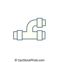 Tee pipe linear icon concept. Tee pipe line vector sign,...
