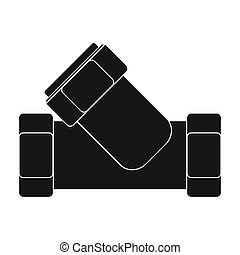 Tee plumbing fitting icon in black style isolated on white background. Water filtration system symbol stock bitmap, rastr illustration.
