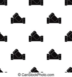 Tee plumbing fitting icon in black style isolated on white background. Water filtration system symbol stock vector illustration.