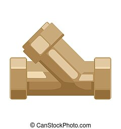 Tee plumbing fitting icon in cartoon style isolated on white background. Water filtration system symbol stock vector illustration.